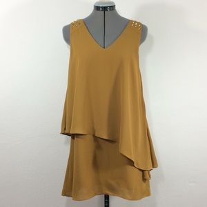NWT Very J flapper style yellow dress with studs-S
